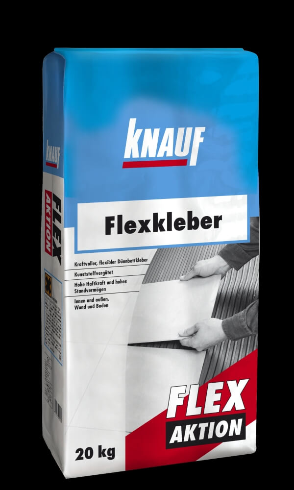 knauf flexkleber flex aktion 20 kg fliesenkleber wand und boden 4006379075584 ebay. Black Bedroom Furniture Sets. Home Design Ideas